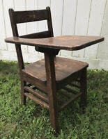 Vintage Child's School Desk Solid Oak Wood Right Hand Book Local Pickup Only