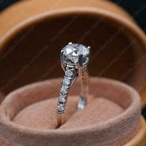 Engagement Ring Anniversary Brillant Diamond Ring 14K White Gold Finish 3 Ct