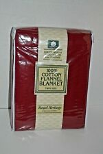Royal Heritage Collection 100% Twin Flannel Red/Maroon Blanket -New