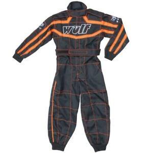 Wulfsport Cub Race Suit Plain Black/Orange Kids Karting Suits ATV Youth Racing