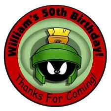 24 MARVIN THE MARTIAN PERSONALIZED BIRTHDAY PARTY STICKERS FAVORS LABELS
