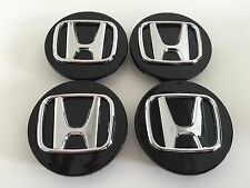 Honda 69mm Wheel Center Caps Black 4pcs Set ACCORD CIVIC ODYSSEY PILOT NEW O