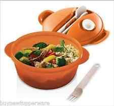 Tupperware Hot Food On-The-Go Set Bowl Microwave Spoon Fork Knife Orange NEW