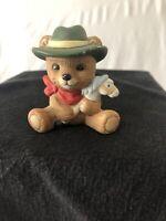 """Homco Miniature Teddy Bear Figurine #1417 Boy Hobby Horse Porcelain 2"""""""