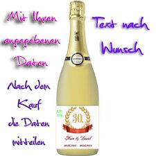 Flaschenetikett/Flaschenaufkleber *Perlenhochzeit * 30.Hochzeitstag, glänzend