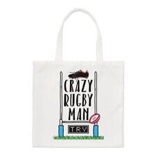 Crazy Rugby Hombre Small Tote Bag-Gracioso Liga Unión Shopper Hombro