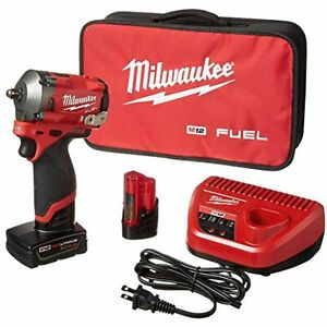 """Milwaukee 2554-22 - M12 FUEL Brushless Cordless Stubby 3/8"""" Impact Wrench Kit"""