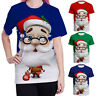 Women Men Blouse Christmas 3D Santa Claus T-Shirt Short Sleeve Tops Xmas Shirts