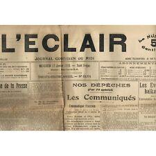 L'ÉCLAIR 12-1-1916 Le VIGAN Crime aux Plantiers et  Accident Mortel GLEIZE à CER
