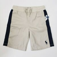 New with tag NWT Boys RALPH LAUREN Beige Navy Blue POLO Casual Shorts S Big Pony
