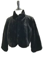 Bolero Shrug Size M Plush Bridal Velour Prom Shawl Crop Jacket High Neck Black