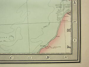 1868 HAND COLOURED MAP ~ ENGLISH CHANNEL ~ FRANCE RIVER SOMME