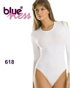 Damen Body Langarm Tanz Sport Bodysuit Slipbody XL 42 Weiß Blue-Ness