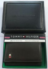 GENUINE Tommy Hilfiger Mens Oxford Leather Trifold Wallet with Zipper Brown RFID