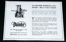 1916 OLD WWI MAGAZINE PRINT AD, DAIMLER AUTOMOBILES, USE SLEEVE VALVE ENGINES!