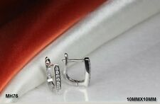 925 STERLING SILVER PAVE CZ  SQUARE HUGGIE HOOP HUGGIE EARRINGS ~MH76~BL-M