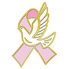 White Hope Dove Gold Plated New Breast Cancer Awareness Lapel Pin Pink Ribbon