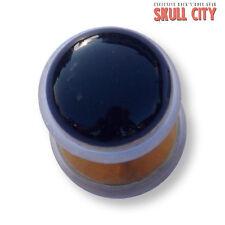 BLACK Agate Gold Gemstone Fakeplug-Fake piercing Stone plug orecchini a bottone agata