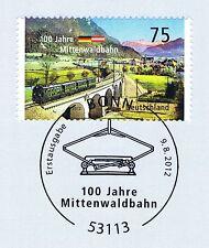 BRD 2012: Mittenwaldbahn Nr. 2951 mit Bonner Ersttagssonderstempel! 1A! 1707