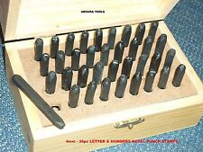 """LETTERS & NUMBERS METAL STAMPS 4mm ( 5/32"""" ) SIZE- WITH TIMBER CASE - BRAND NEW."""