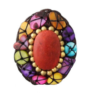 Oval Red Coral Brass Multicolor Shell Wax Rope Ring