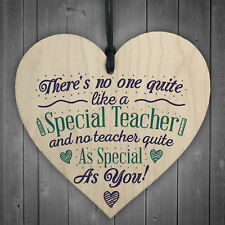 Special Teacher Wood Heart Thank You Gift Teaching Assistant Nursery Leaving