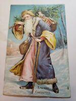 BLUE Robe Santa Nicholas A Merry Christmas Toy Sack Tree Stick Embossed Postcard
