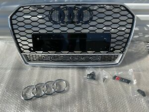 Audi A6/S6 RS6 Style Front Grille Honeycomb Mesh Grill W/ Quattro 2016-2018 C7.5