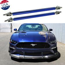 2x Adjustable Blue Front Bumper Lip Splitter Strut Rod Tie Support Bars For Ford