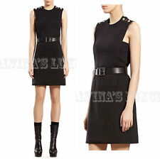 $1750 GUCCI DRESS BLACK WOOL JERSEY SIGNATURE LOGO BUTTON DETAIL BELT S SMALL