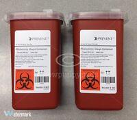 Sharps Container Biohazard Needle Disposal 1 Qt Size Tattoo 2EA
