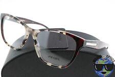 Prada RX Eyeglasses VPR 04T U6K-1O1 White/Burgundy Havana Frame [54-16-140]