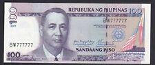 Philippine 100 Peso NDS 2001 solid serial SN# BW 777777 Estrada/Buenaventura Unc