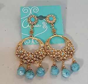 AQUA GOLD BLUE FAUX PEARL CHANDELIER EARRINGS