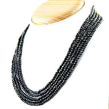 AAA 286.00 CTS NATURAL 5 STRAND RICH BLACK SPINEL ROUND FACETED BEADS NECKLACE