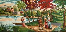 """vintage completed cotton needlepoint country life  tapestry 43.5""""x20"""""""