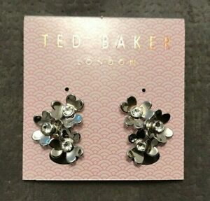 Ted Baker Heart Blossom Crystal Clip-On Earrings Silver Tone
