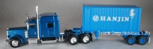 HO 1:87 Athearn # 92138 Hanjin 20' container w/Chassis & Tonkin Peterbilt 389 Tr