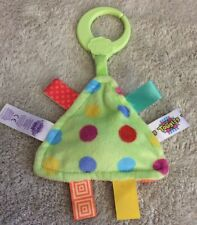 Taggies Green Blue Red Polka Dots Fleece Triangle Squeaker Baby Car Seat Toy