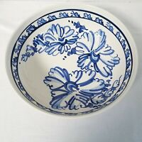 Hand Thrown Pottery Pasta Bowl Hand Painted Blue White Signed FRENCH COUNTRY