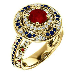 1.16CT NATURAL DIAMOND 14K SOLID YELLOW GOLD RUBY SAPPHIRE CLUSTER RING SIZE 7