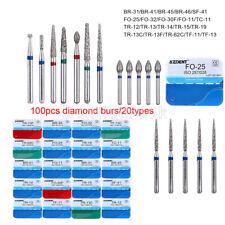 100pcs AZDENT Dental Diamond Burs for High Speed Handpiece Medium Friction Grip