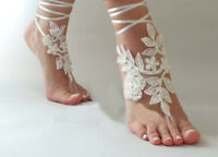 White Wedding Foot Chain Barefoot Sandals Beach Anklet Wedding Shoe Lace Pearls