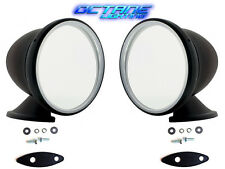 "4"" Talbot Shelby British Style Fender Door Mounted GT Racing Black Mirrors Pair"