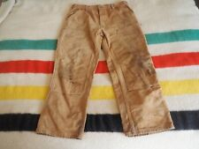 Vtg Carhartt Double Knee Canvas Tan Work Pants Made In Usa Faded Fits 34 x 30