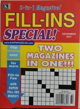 Kappa Fill Ins Special Dec 2017 Two Magazines In One Puzzles FREE SHIPPING sb
