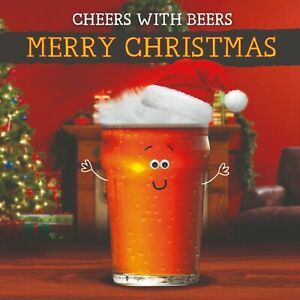 Xmas Christmas Card Cheers With Beers - Fluff & Goggly Eyes