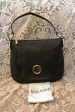 NWT Michael Kors FULTON TZ Large Shoulder Tote Purse Bag BLACK Pebbled Leather