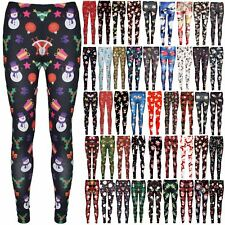Ladies Christmas Xmas Snata Snowman Present Gift Tree Stretchy Jeggings Leggings