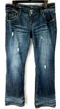 Almost famous blue denim embroidered embellished distressed flare jeans 11